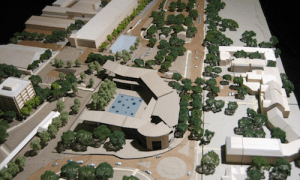 Courtesy of Princeton University.  This 2009 model shows the proposed arts complex on the left and Forbes College on the right looking south down Alexander Street.