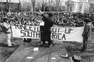 Princeton students protest South African Apartheid on Cannon Green, April 1978, Princeton Alumni Weekly Photograph Collection